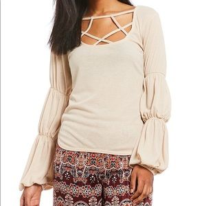Chelsea & Violet Peasant Cage Neck Bell Sleeve Top